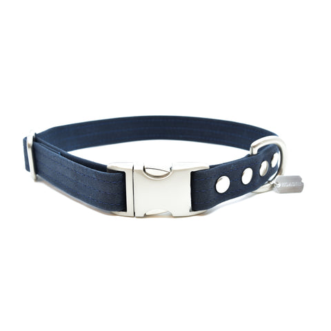 WAXED CANVAS COLLAR: bleu nuit