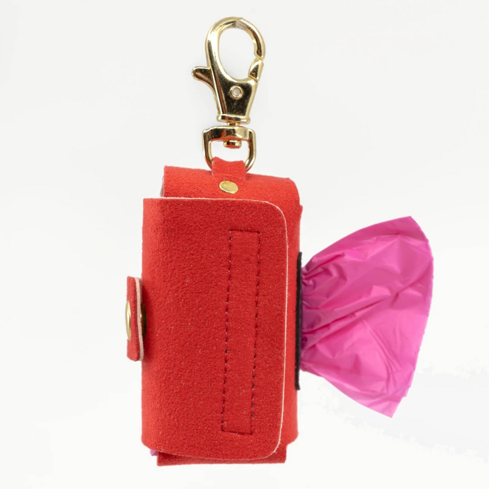 VEGAN SUEDE BAG HOLDER (cherry red)