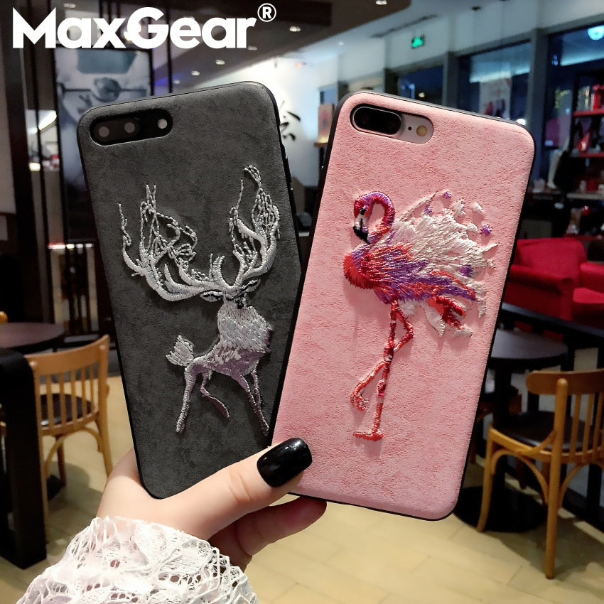 Embroidery Leather Phone Case For iPhone 8 Plus X XR XS Max 7 6 6S Plus Phone For Samsung S9 S8 Plus note8 s9plus s9+