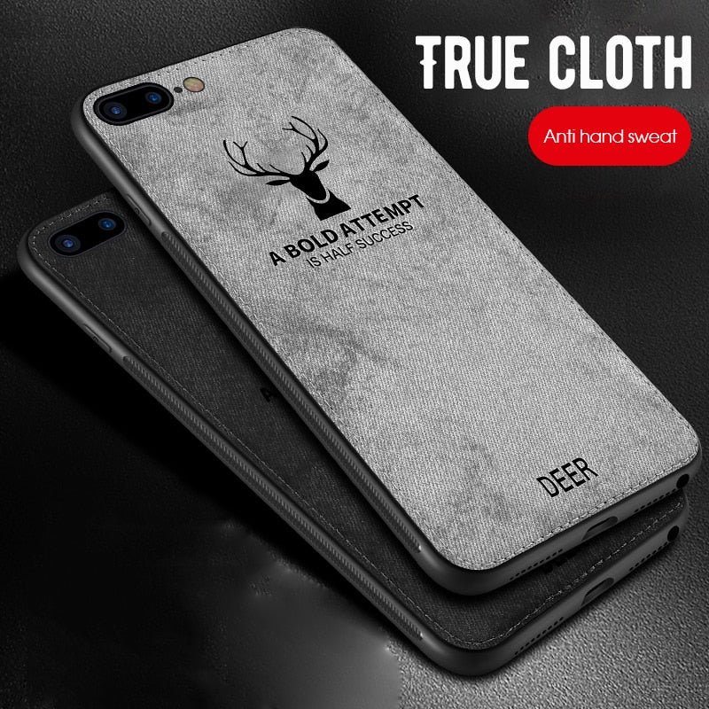 Cloth Texture 3D Embossed Deer Case For iPhone XR XS Max X 6 6S 7 8 Plus Premium Soft TPU edge Phone Case Cover