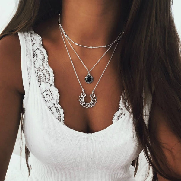 NBoho Retro Silver Multi-layer Necklace