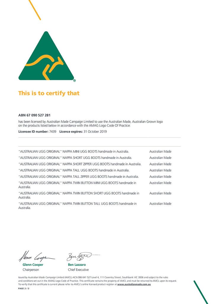 AUSTRALIAN MADE CERTIFICATE FOR AUSTRALIAN UGG ORIGINAL
