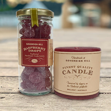 Raspberry Drops and Red Candle Hamper