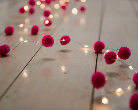 Pink Pom Pom Mini LED Fairy Lights