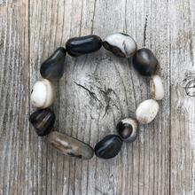 Polished Agate Pebble Bead  Bracelet