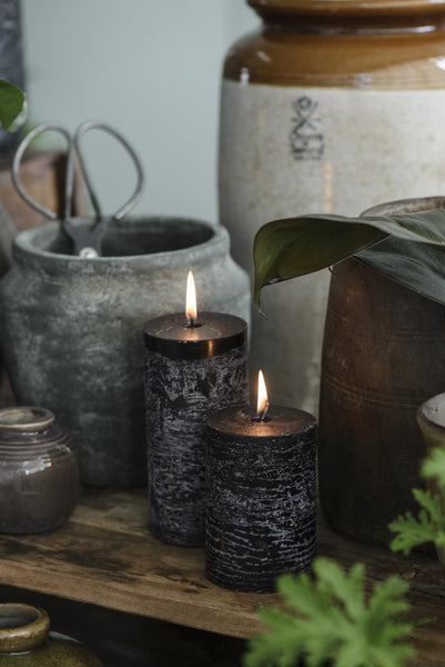 Black Rustic Pillar Candle
