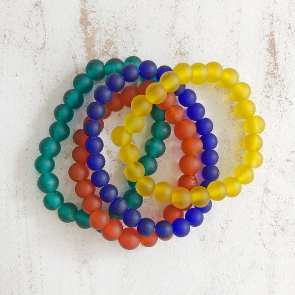 Recycled Translucent Glass Bead Bracelets