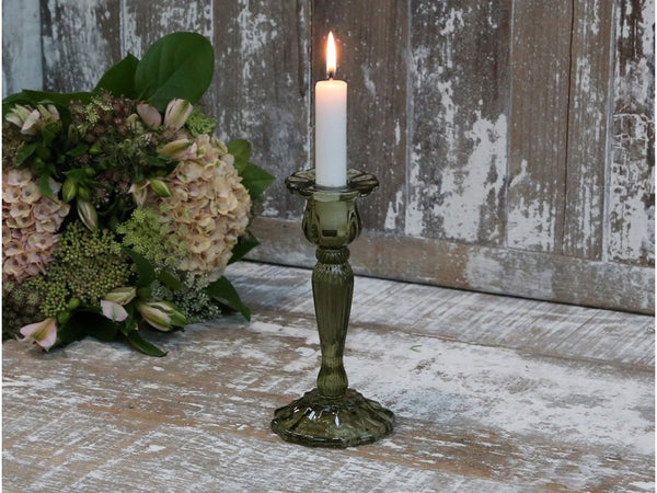 Olive Glass Candlestick w Grooves