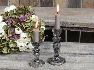 Grey Glass Candlestick w Lace Edge