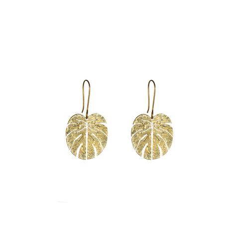 Brass Tropical Leaf Earrings - Small
