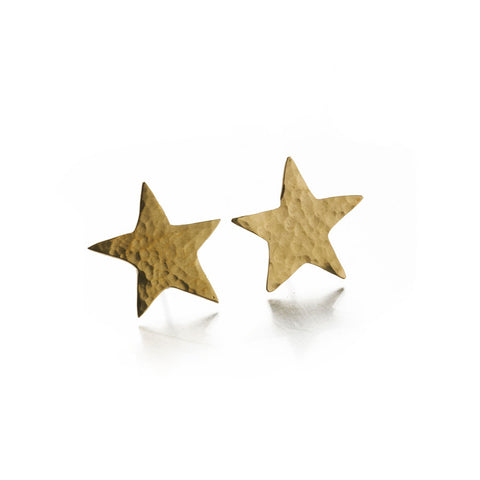 Hammered Brass Star Studs