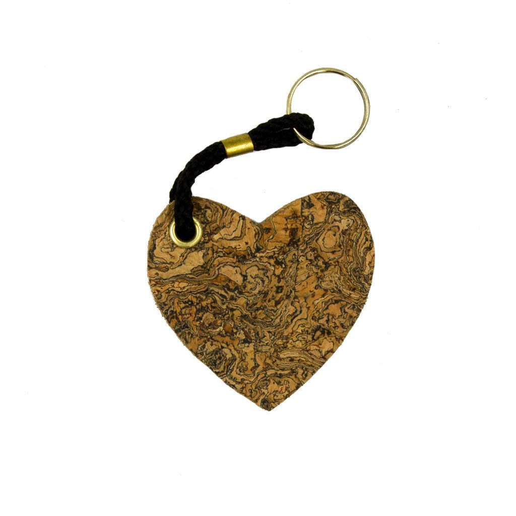 Ice Grey Cork Heart Keyring