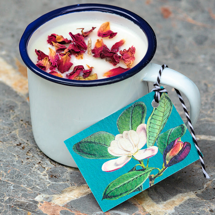 Willow House Enamel Cup Wild Rose Scented Candle