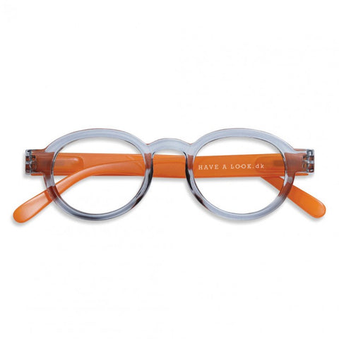 Reading Glasses - Circle Twist Grey & Orange