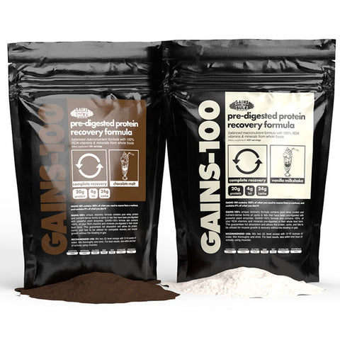 gains 100 pre-digested protein vanilla and chocolate