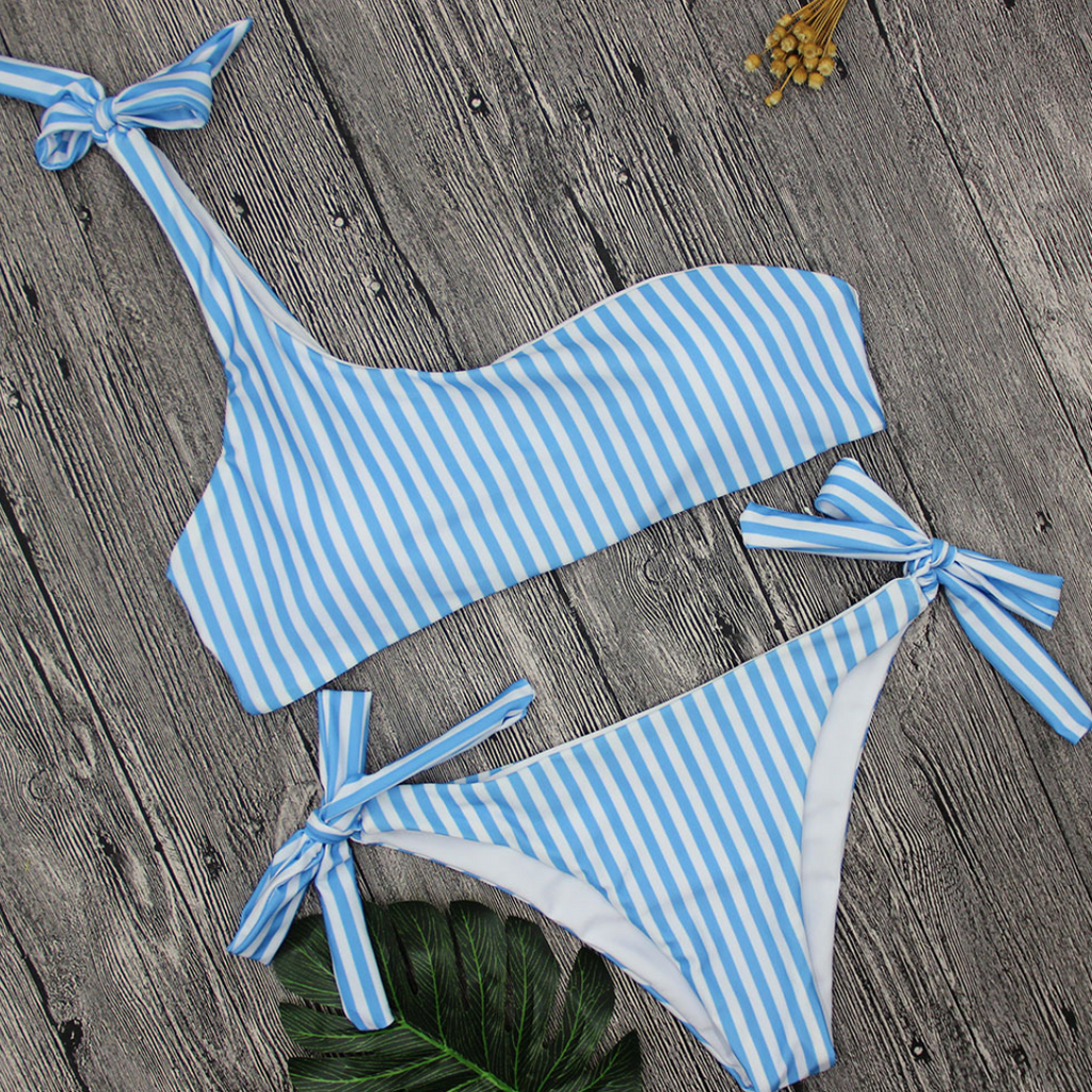 One Shoulder Striped Bikini Set