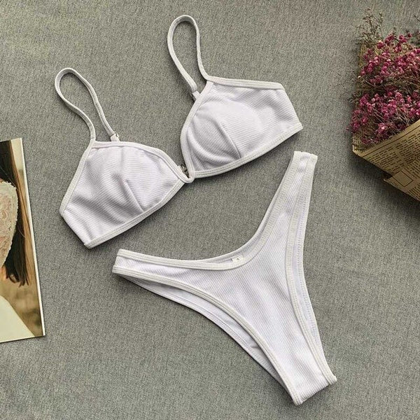 Ribbed V Neck Bikini Set