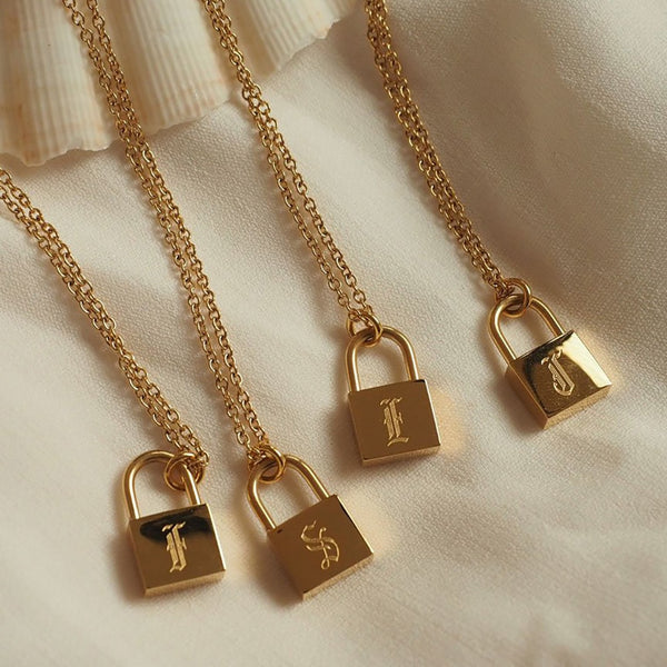 Old English Initial Lock Necklace