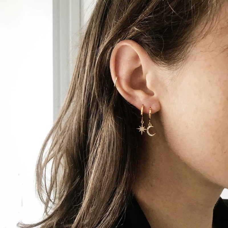 North Star and Crescent Earrings