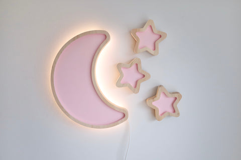 Moon and Stars -Wooden Lamp