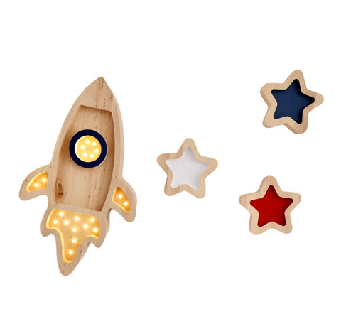 Rocket and Stars Wooden Lamp