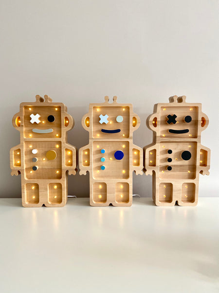 Robot Wooden Lamp -Alder Wood
