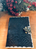 BLACK Leather Embossed Antique looking Journal with hook clasp