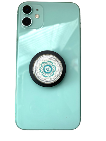 Turquoise and White Mandala Aromatherapy POP-Locket Phone grip