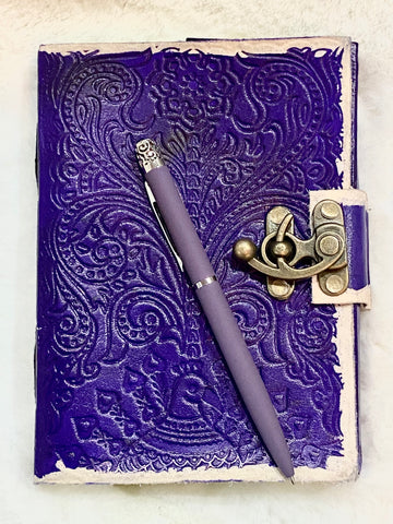 Purple Leather Embossed Antique looking Journal with hook clasp