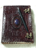 BROWN LEATHER ANCIENT LOOKING JOURNAL WITH LAPIS LAZULI STONE