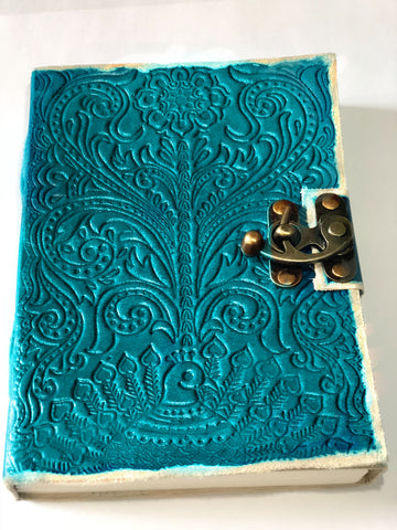 Turquoise Embossed Leather Notebook Journal