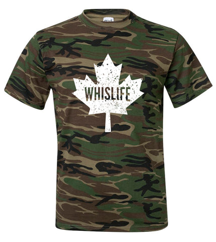 Unisex Short Sleeve Camo Crewneck T-Shirt - Maple Logo