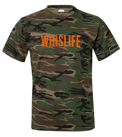 "Unisex Camo Short Sleeve Crewneck T-Shirt - 10"" Distressed Logo"