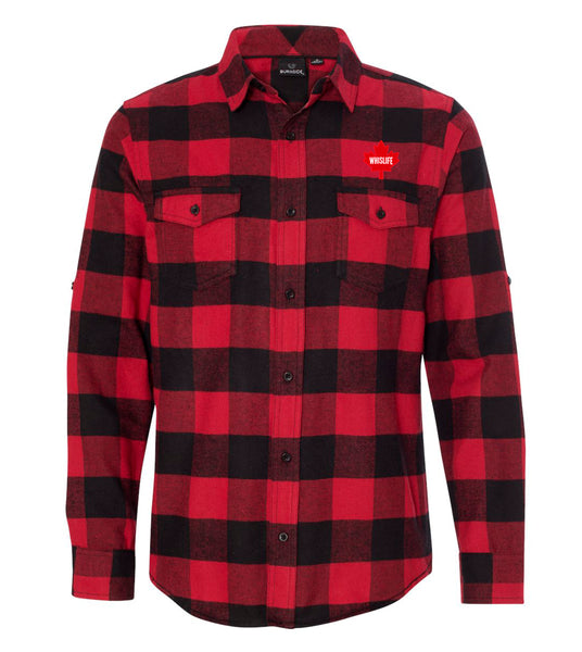 Men's Woven Plaid Flannel Shirt - Maple Leaf Logo