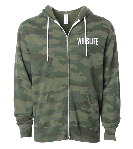 "Unisex Lightweight Fitted Zip Hoodie - 4"" Distressed Logo"