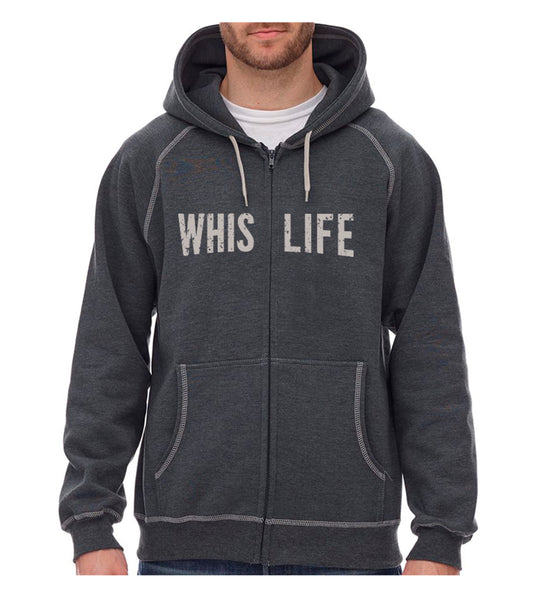 "Unisex Heavyweight Zip Hoodie - 10"" Distressed Logo"