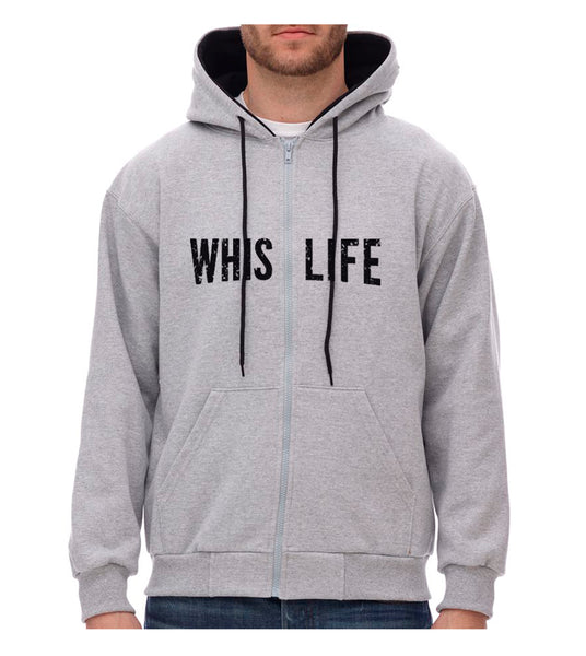 "Unisex Two - Colour Zip Hoodie - 10"" Distressed Logo"