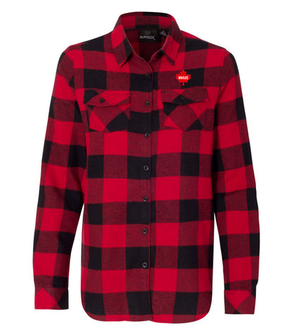 Women's Woven Plaid Flannel Shirt - Maple Leaf Logo