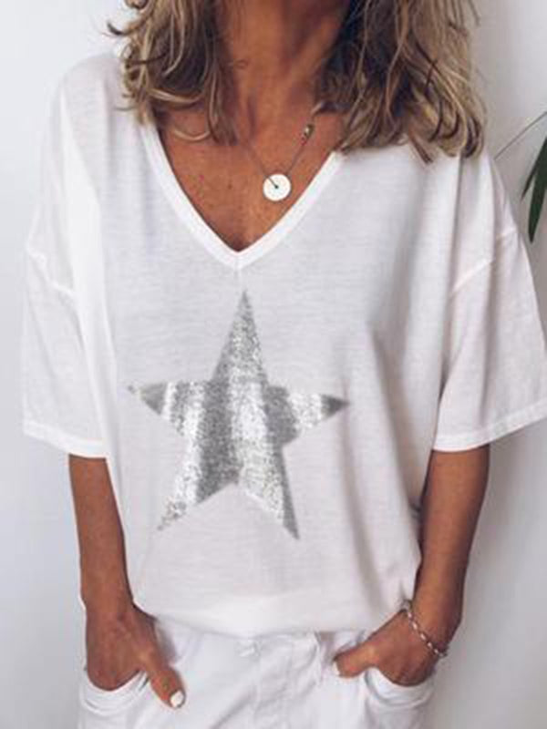 Star Printed Casual V Neck T-Shirts