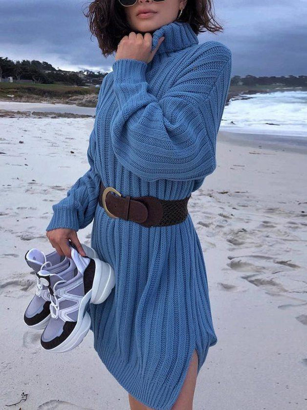 High Collar Vacation Sweater Dress