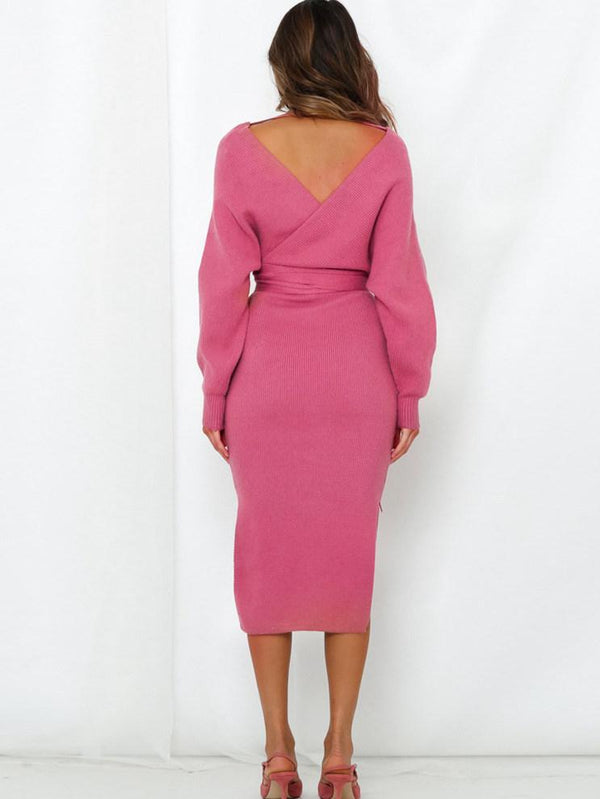 Deep V Open Back Pencil Skirt Slim Midi Dress Pink