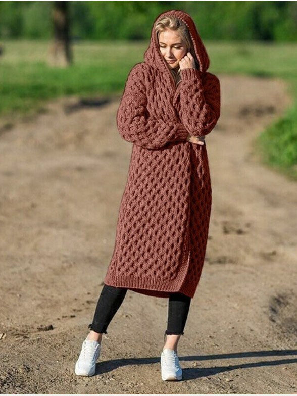 Winter Warm Plus Size Hooded Cardigan Coat
