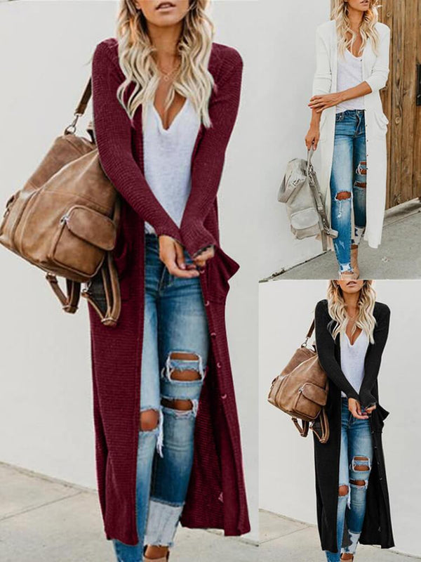 Casual Mid-length Long-sleeve Knit Cardigan