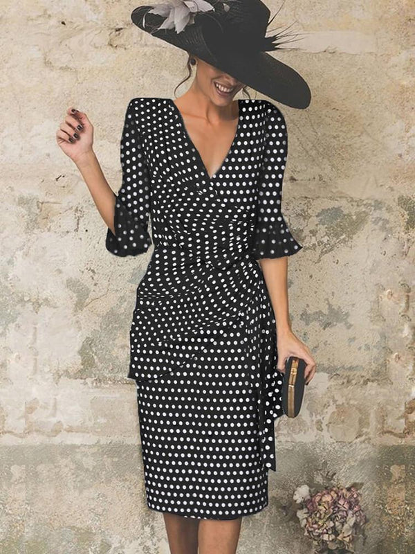 V Neck Polka Dots Business Casual Dress