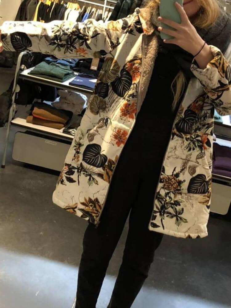 Leaves Floral Print Long Sleeve Hooded Vintage Coats