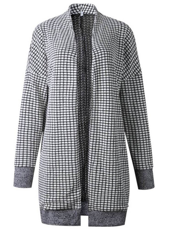 Women Long Sleeve Plaid Casual Coats