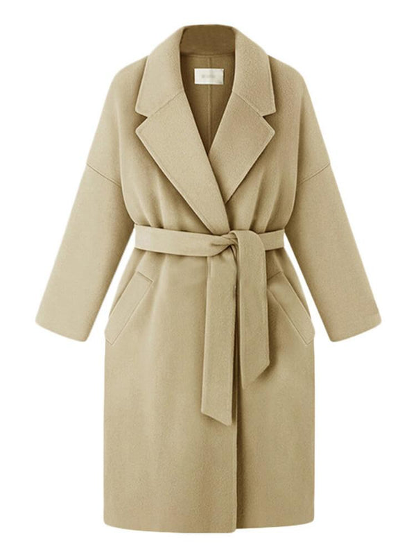 Women Winter Solid Color Shawl Collar Coats with Belt