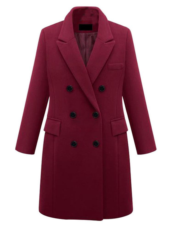 Shawl Collar Solid Color Button Coats