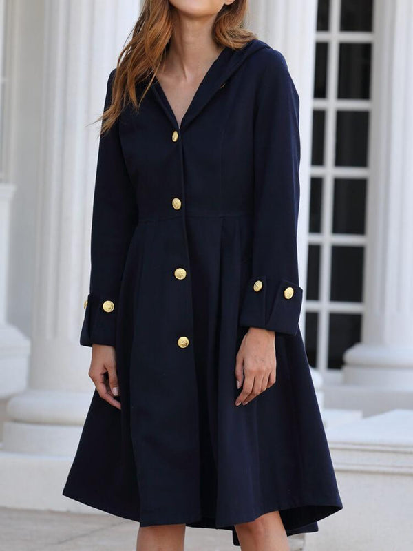 Asymmetrical British Solid Color Hooded Coat
