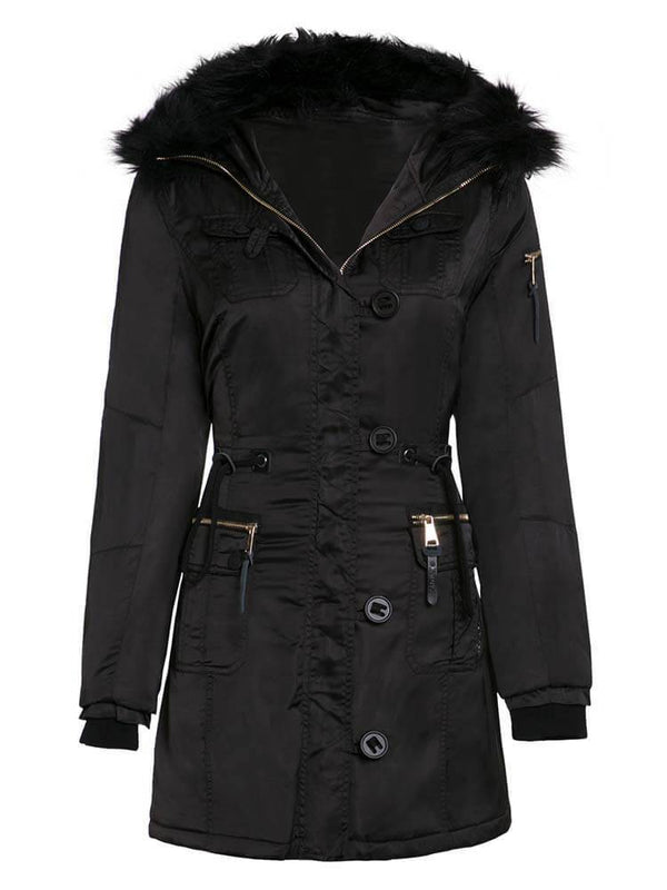 Black Hooded Women Parker coat